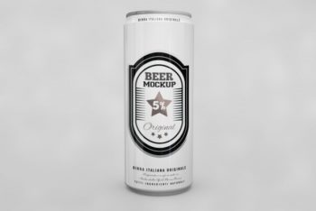 Free Tall Beer Can Design Mockup in PSD