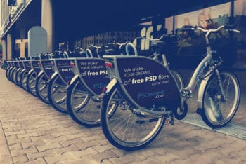 Free Modern Bicycle Advertising Mockup in PSD