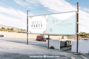 Free Parking Lot Billboard Mockup in PSD