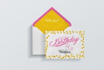 Free Colorful Birthday Card Plus Envelope Mockup in PSD