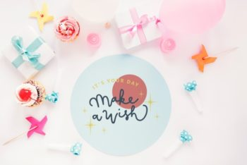 Free Round Birthday Card Mockup in PSD