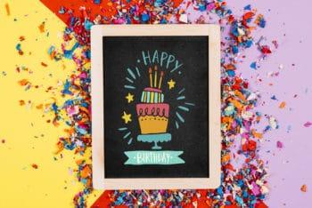 Free Fun Birthday Slate Plus Confetti Mockup in PSD