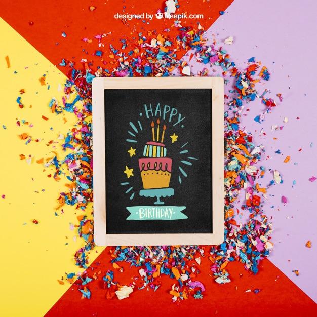 Fun Birthday Slate Plus Confetti