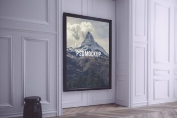 Free Huge Frame Plus Wall Mockup in PSD