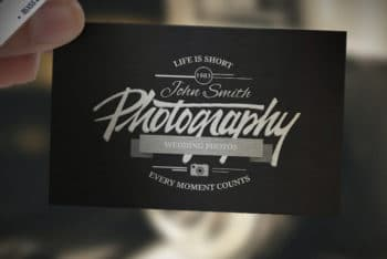 Free Retro Business Card Mockup in PSD