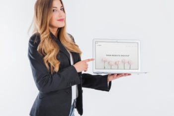 Free Businesswoman Presenting Plus Tablet Mockup
