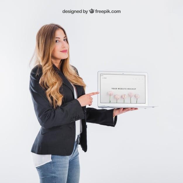 Businesswoman Presenting Plus Tablet