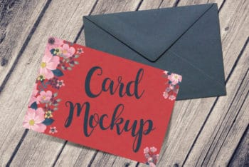 Free Greeting Card Plus Envelope Mockup in PSD