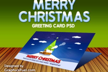 Christmas Greeting Card PSD Mockup – Colorful Look Blends With Useful Features