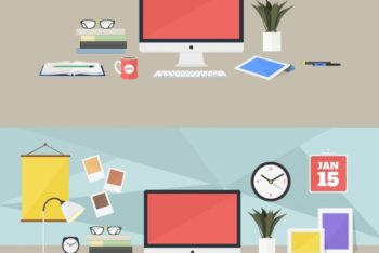 Free Colorful Workplace Vector Mockup in PSD