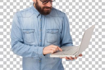 Free Hipster Plus Laptop Scene Mockup in PSD