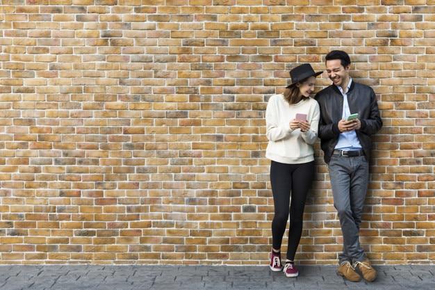 Dating Couple Plus Brick Wall Scene