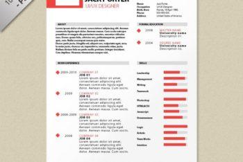 Free Creative Modern Resume Mockup in PSD