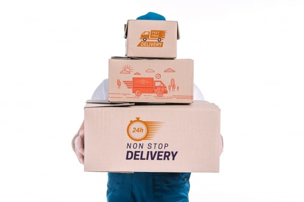Delivery Boxes Plus Delivery Man