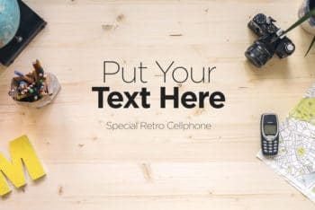 Free Retro Workspace Plus Old Gadgets Mockup in PSD