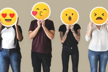 Free Diverse People Plus Emoticons Mockup in PSD
