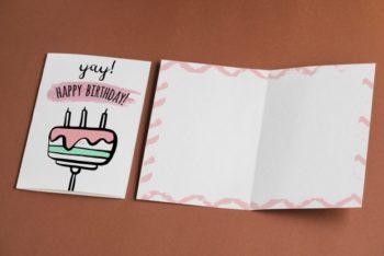 Free Empty Birthday Card Mockup in PSD