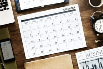 Free Business Agenda Plus Calendar Mockup in PSD
