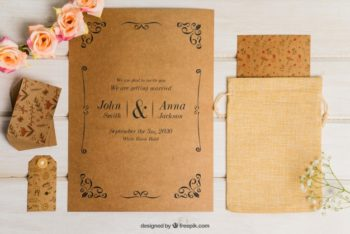Free Floral Cardboard Wedding Invitation Mockup