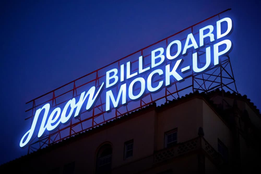 free electric neon sign billboard mockup