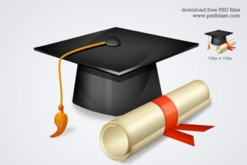 Free Graduation Hat Plus Diploma Mockup in PSD