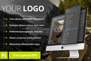 Free Layered iMac Design Mockup in PSD