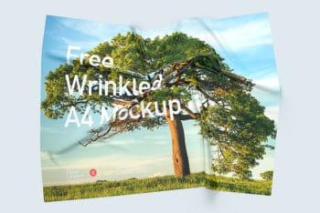 Free Wrinkled A4 Paper Mockup