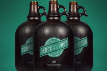 Free Gallon Growler Bottles Mockup in PSD