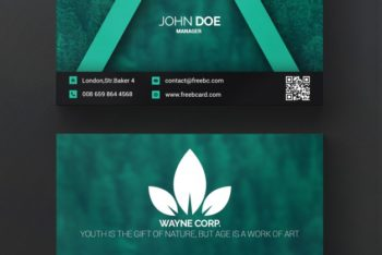 Free Green Clean Business Card Mockup in PSD
