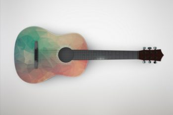 Free Stylish Acoustic Guitar Mockup in PSD