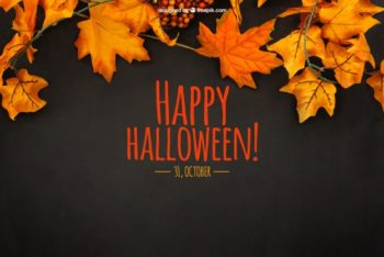 Free Autumn Halloween Theme Mockup in PSD