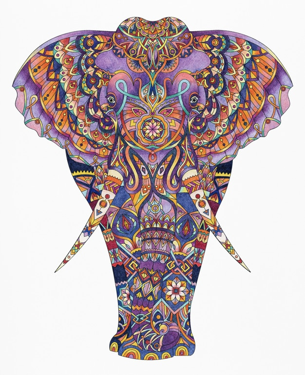 Adult Coloring Book Elephant
