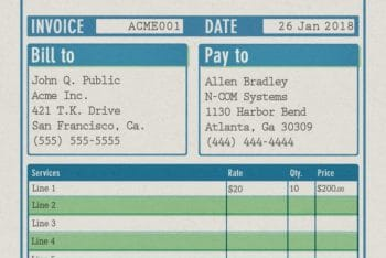 Free Traditional Invoice Receipt Mockup in PSD