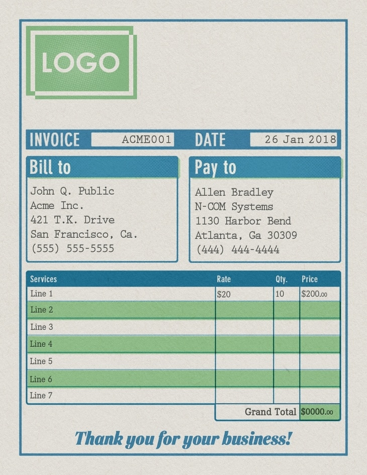 Traditional Invoice Receipt