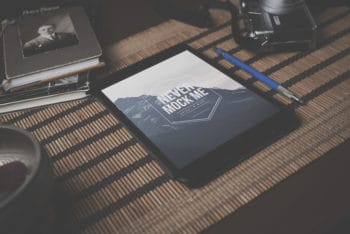 Free Vintage iPad Plus Desk Mockup in PSD