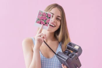 Free Girl Plus Polaroid Camera Mockup in PSD