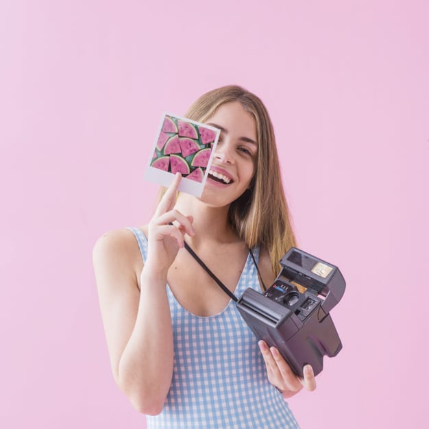 Girl Plus Polaroid Camera