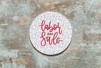 Free Labor Day Sale Badge Mockup in PSD