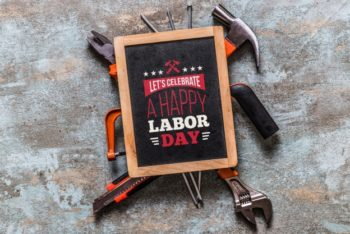 Free Labor Day Tools Promotion Mockup in PSD