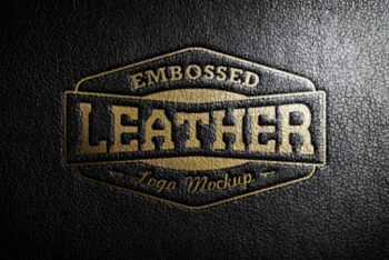 Free Shiny Leather Stamping Logo Mockup in PSD