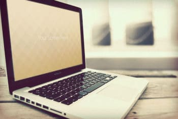 Free Vintage MacBook Design Mockup in PSD