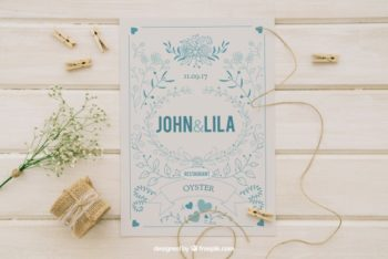 Free Wedding Invitation Plus Ornament Mockup in PSD