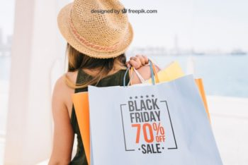 Free Black Friday Shopping Bags Mockup in PSD