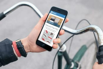Free Cyclist Plus iPhone Scene Mockup in PSD