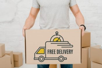 Free Delivery Cardboard Box Mockup in PSD
