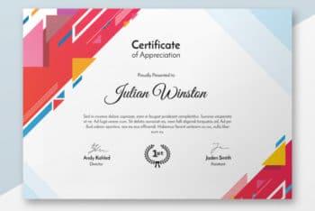 Free Modern Stylish Certificate Mockup in PSD