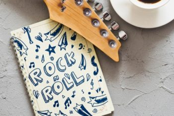 Free Notebook Plus Guitar Scene Mockup in PSD