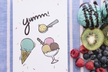 Free Notepad Plus Fruity Dessert Mockup in PSD
