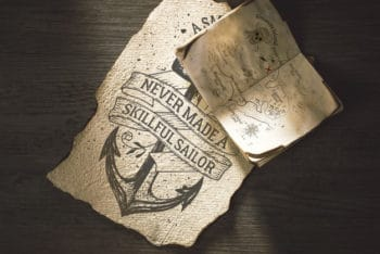 Free Old Paper Sailing Concept Mockup in PSD