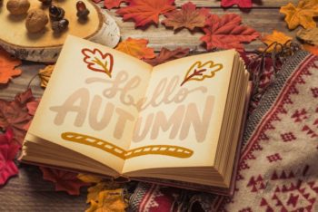 Free Autumn Open Book Concept Mockup in PSD